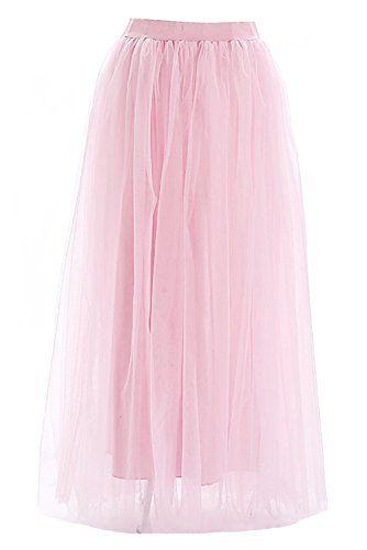 Facent Damen 4 Schichten 100cm Lang Kleid Tullrock Abendrock Tull Tutu Rock Altrosa Fashion Tulle Skirts