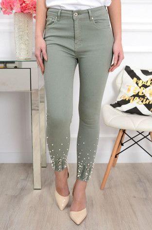 Spodnie Jeans Postrzepione Z Perlami Khaki Spring Capsule Wardrobe Capsule Wardrobe Wardrobe