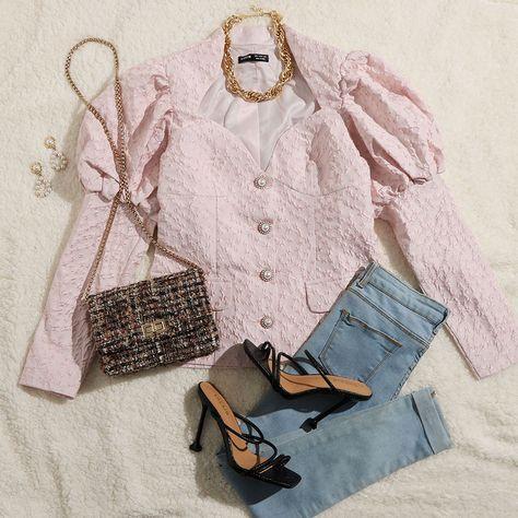 SHEIN Sweetheart Neck Gigot Sleeve Jacquard Jacket