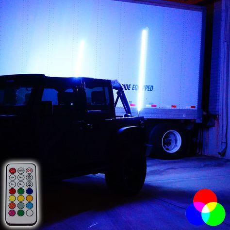 Dual Led Whip Kit Light Off Road Flag Wireless Color Changing Jeep Jeep Wrangler Jk Led Rock Light