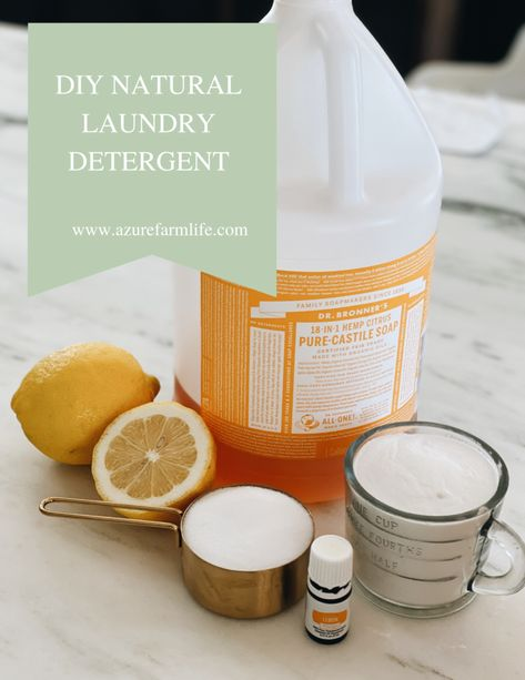 How to clean your clothes naturally- DIY natural detergent - Azure Farm Diy Home Cleaning, Cleaning Recipes, Green Cleaning, Cleaning Hacks, Cleaning Supplies, Natural Laundry Detergent, Diy Soap Laundry, Limpieza Natural, Diy Cleaners