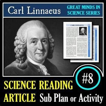 Carl Linnaeus - Science Article #8 - Science Sub Plan (Google Slides & PDFs)