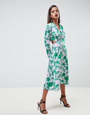 Asos Design Asos Design Collar Midi Tea Dress With Long Sleeves In Floral Maxi Dress Prom Women Dress Sale Tea Dress