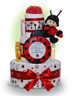 "Here's a cute baby cake that makes a perfect baby shower centerpiece or unique gift for baby  girls.  Our cake includes a sweet ladybug photo frame to hold the ""lil lady bug"" in your life. Only $67.00"