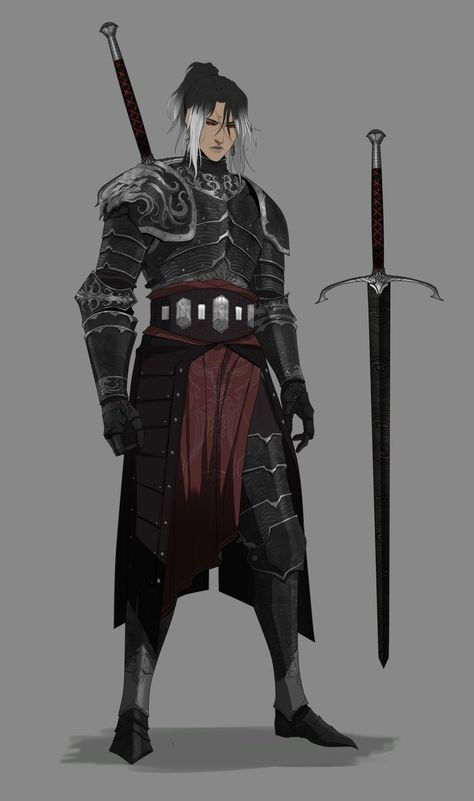"""Silvers and blacks ended up working well for glorious Knight lass. Fantasy Male, Anime Art Fantasy, Fantasy Armor, Dark Fantasy, Fantasy Character Design, Character Creation, Character Design Inspiration, Character Concept, Character Art"