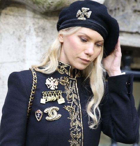 Vintage Chanel brooches seen at Milan Fashion Week Fall/Winter