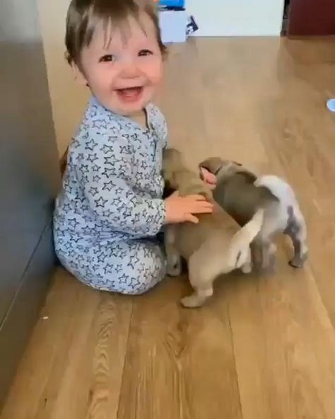 Happy #puppy meet cute #baby  #dog #dogs #puppies