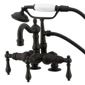 Kingston Brass Vintage Oil Rubbed Bronze 3 Handle Residential Deck Mount Roman Bathtub Faucet Wi Clawfoot Tub Faucet Clawfoot Tub Clawfoot Tub Shower
