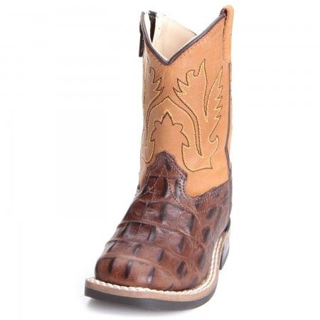 Old West Toddler Boys Gator Print Cowboy Boots Brown Toddler Cowboy Boots Kids Cowboy Boots Boys Boots