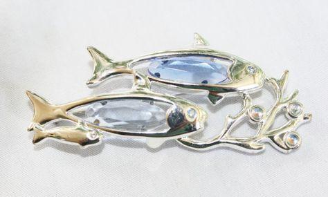 Vintage MONET Brooch Fish Silver Tone Blue by RomantiqueTouch, $12.00