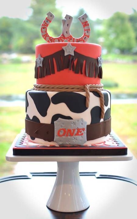 Cute Western Birthday Cake For Twins