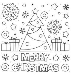 Merry Christmas Coloring Page Black And White Vector Merry Christmas Coloring Pages Christmas Tree Coloring Page Christmas Coloring Sheets