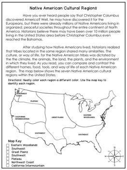 Native American Cultural Regions Native American Projects Native American Regions Native American Studies Native american regions map worksheet