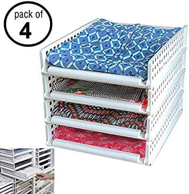 Amazon Com Uncluttered Designs Sliding Stackable Shelves Create Instant Shelving Breathable For In 2020 Stackable Shelves Bedroom Organization Storage Unclutter