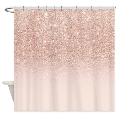 Cafepress Modern Girly Rose Gold Glitter Ombr Unique Cloth Shower Curtain Image 1 Of 1 With Images Rose Gold Shower Curtain Glitter Shower Curtain Gold Shower Curtain