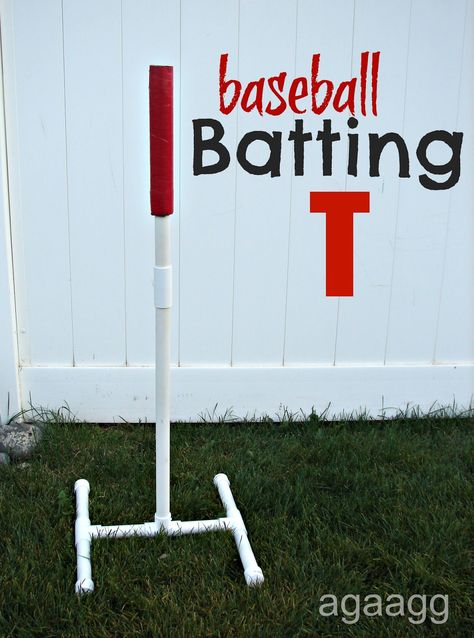Batting T from pvc pipe.  DIY crafts for fun sports games, exercise & activities for kids.  Great for boys backyard birthday party to keep them entertained.  Summer Kids Crafts.
