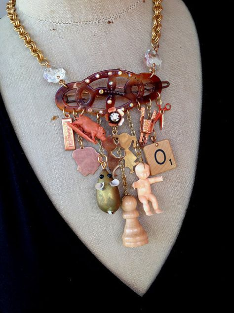 Vintage Charm Necklace by rebecca3030, an Australian Etsy shop with a lot of amazing jewelry made with found objects