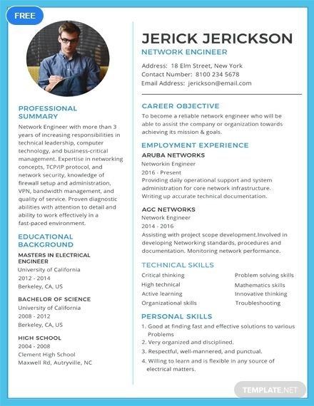 Free Basic Network Engineer Resume Engineering Resume Templates