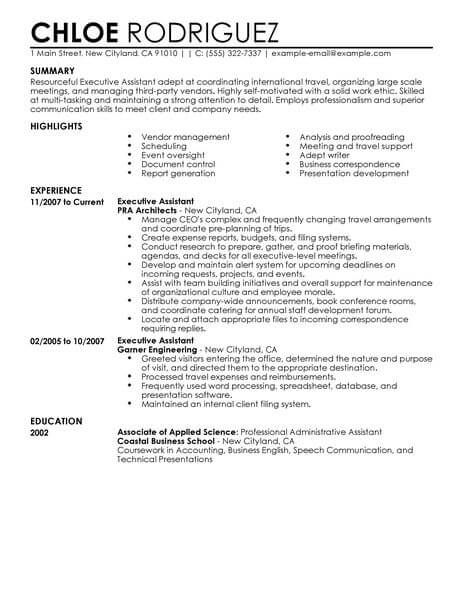 Executive Assistant 3 Resume Format Resume Summary
