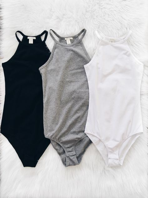 High Neck Cami Bodysuit (Black, Gray, White)