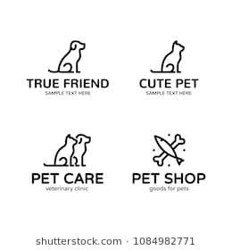 Pet Logo Design Template Set Vector Cat Dog Fish Sign And