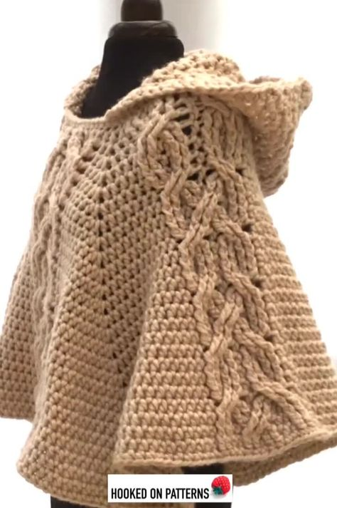 The Milena Hooded Poncho Crochet Pattern by Hooked On Patterns. A beautiful chunky poncho with a feature twisted cable design. #crochet #poncho #crochetpattern #winter #fashion