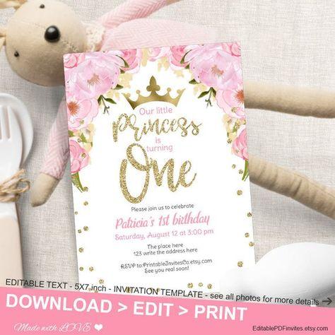 Princess Birthday Invitation Pdf First Editable Pink Gold