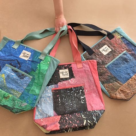 Your Up-fuse everyday Tote Bag made from upcycled plastic bags and Egyptian organic cotton certified by GOTS!