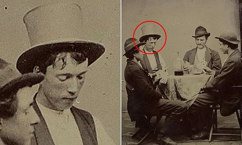 The previously unseen black and white image from 1877 shows the American outlaw playing cards with three members of his gang - Richard Brewer, Fred Waite and Henry Brown. Asian History, Us History, British History, History Facts, American History, Tudor History, Billy Kid, Billy The Kids, Unusual Facts