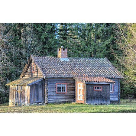 Laminated Poster Log Cabin Trees Grass Norway House Home Scenic Poster Print 24 X 36 Logcabinfurniture Log Homes Log Cabin Furniture Log Cabin Homes
