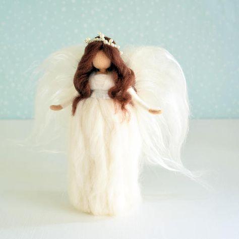 Angel tree topper Gerda by Jade Shen Christmas fairy doll Christmas tree topper Christmas Angel felted tree topper Waldorf tree topper