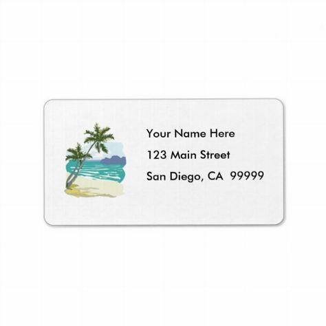30 Custom Beach Crayon Art Personalized Address Labels