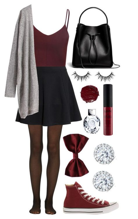Maroon & Skater Skirt - Source by outfits Fashion Mode, Look Fashion, Teen Fashion, Autumn Fashion, Fashion Outfits, Womens Fashion, Fashion Trends, Luxury Fashion, Latest Fashion