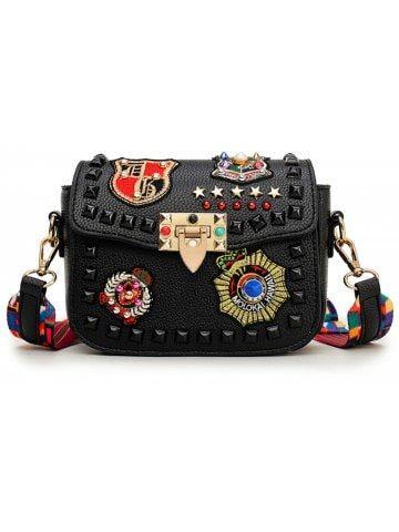 4dcc72d02c3 Fashion Rivet Embroidery Women Messenger Bags Brands Designer Flap ...