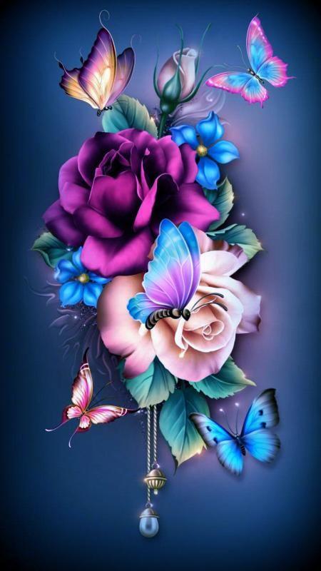 Free Butterfly Flowers Wallpaper Free Wallpapers Tones7 Flower Wallpaper Flower Phone Wallpaper Butterfly Wallpaper