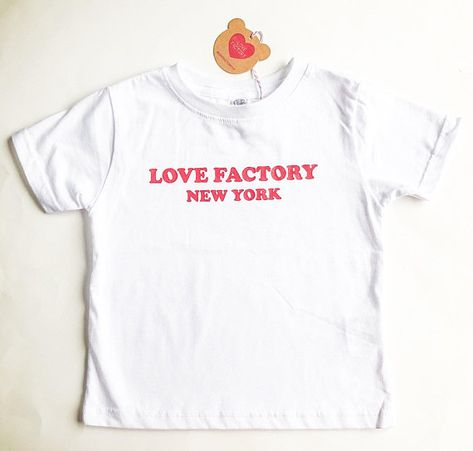 Love Factory New York Logo Kids T Shirt White Red Cotton Children