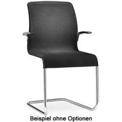 Executive Freischwinger Konferenz-Stuhl Besucher Leder schwarz Gestell chrom