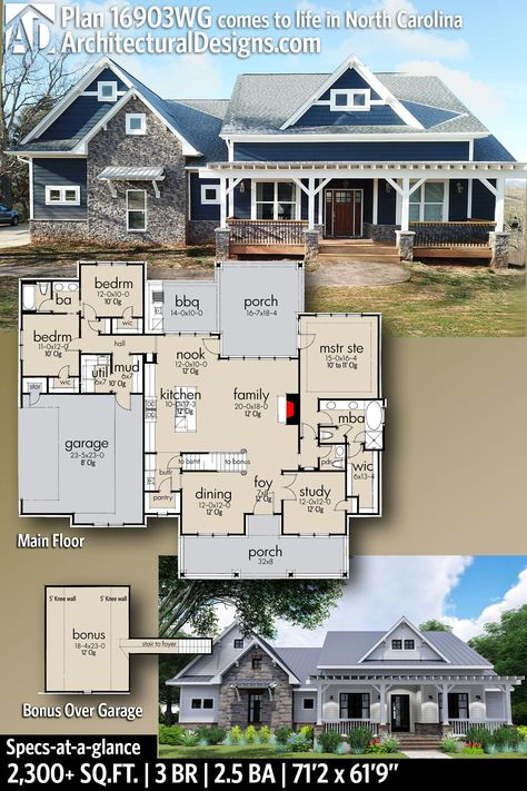 Architectural Designs Modern Farmhouse House Plan 16903WG built by our client in North Carolina! This Farmhouse home plan feat 3 Bedrooms 2 and a half baths in over 2,300+ Sq Ft PLUS an optionally finished Bonus Room over the Garage #16903WG #adhouseplans #architecturaldesigns #houseplans #architecture #newhome #newconstruction #newhouse #homedesign #homeplans #architecture #home #myfarmhouse #southernhome #southerliving #Modernfarmhouse #Farmhousestyle #homesweethome