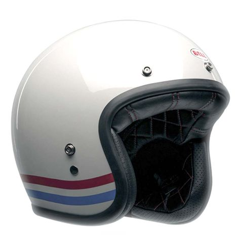 Bell Custom 500 Deluxe Helmet Stripes Pearl White Motorcycle