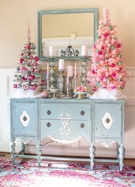 Experience the magic of Christmas in this beautifully decorated southern home. Highlights include a gorgeous collection of vintage Shiny Brite ornamen Pink Christmas Decorations, Pink Christmas Tree, Shabby Chic Christmas, Vintage Christmas Ornaments, Retro Christmas, Winter Christmas, Holiday Decor, Antique Christmas, Christmas Stuff