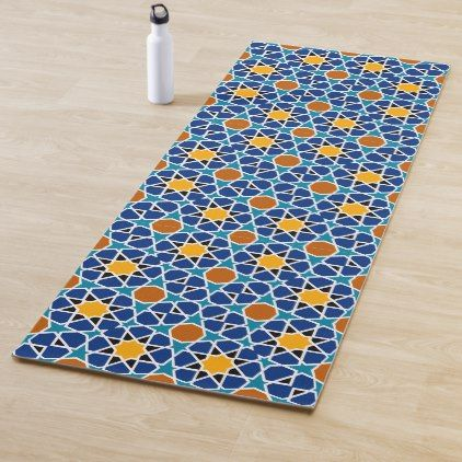 Blue Persian Geometric Tile Pattern Yoga Mat Create Your Own Personalize Yoga Mats Best Geometric Tile Pattern Yoga Mat