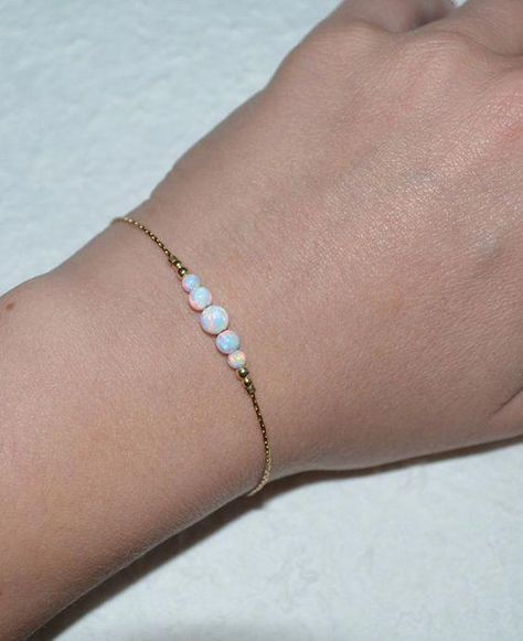White Opal Bracelet, Tiny Opal Dot Bracelet, simple dainty coin/circle silver bracelet, minimalist horizontal bar bracelet, opal jewelry