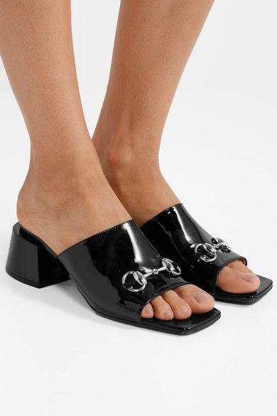 4f4cf5a62 Gucci | Lexi horsebit-detailed patent-leather mules | NET-A-PORTER.COM