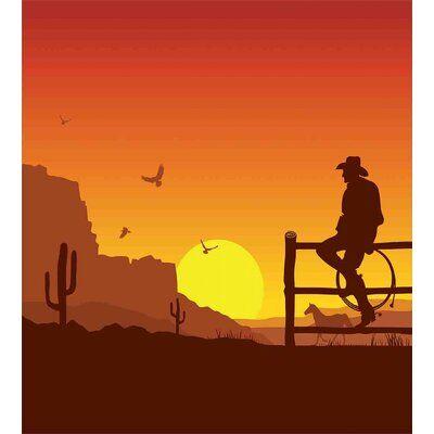 East Urban Home Western Duvet Cover Set Western Artwork Black Background Painting Western Wall Art