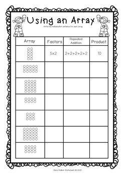 Arrays Worksheets Grade Two Math Standard First Multiplication