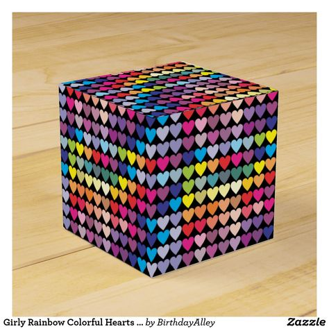Girly Rainbow Colorful Hearts Pattern