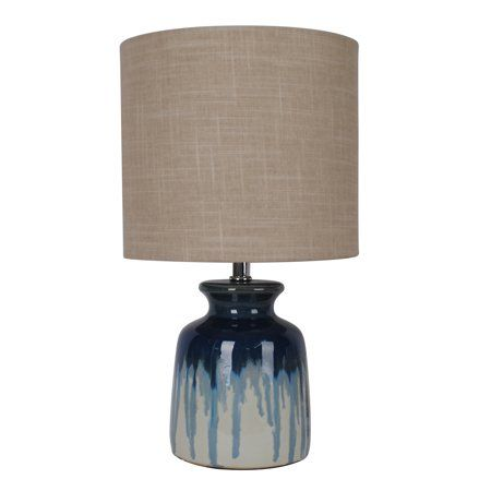 Better Homes Gardens Ceramic Ombre Drip Table Lamp Blue Walmart Com Lamp Blue Ceramic Lamp Table Lamp