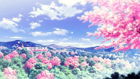 Anime Nature anime nature art animated gif breeze petals Природа - kleine k amp uuml che l form