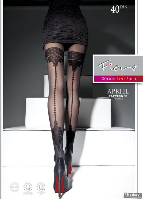 S,M,L Black Mock Suspender Tights 20//40 Denier with Floral Pattern to Thigh