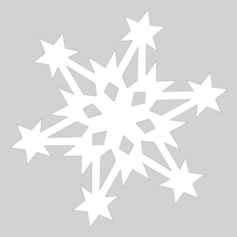 Paper Snowflake Pattern With Stars Cut Out Template